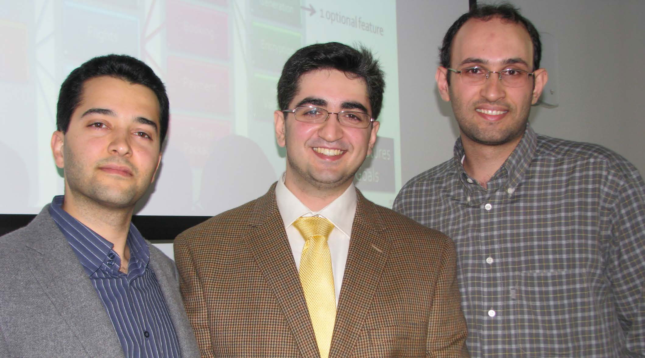 Sam Malek (left) with Ahmed M. Elkhodary and Naeem Esfahani in 2010.