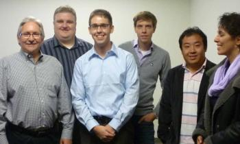 Prof. David Redmiles and his research team: Project Scientist Matthew Bietz, Ph.D. graduate Erik Trainer, Ph.D. students Benjamin Koehne and Oliver Ye Wang, and Project Scientist Ban Al-Ani.