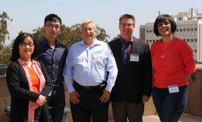 Prof. Redmiles, center, with his alum Hiroko Wilensky (Boeing), PhD student Zhendong Wang, and industry collaborators Stewart Sutton (The Aerospace Corp.) and Ban Al-Ani (ADP).