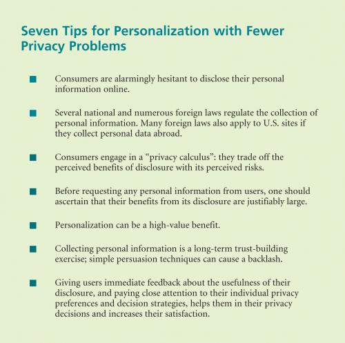 Seven Tips for Personalization with Fewer Privacy Problems