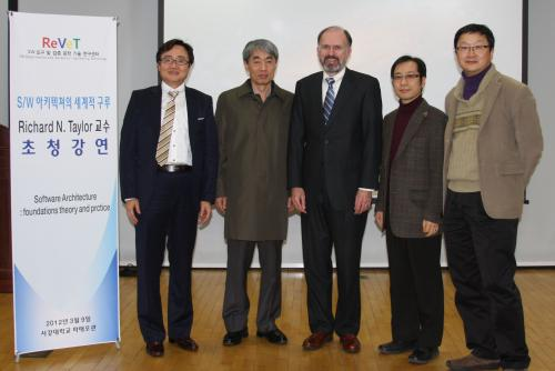 Director Taylor with Korean Software Engineering Society members Prof. Sooyong Park of Sogang University, Prof. Sungwon Kang of KAIST, Prof. Keunhyuk Yeon of Pusan National University, and Prof. Steve Sungdeok Cha of Korea University.