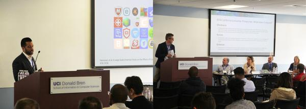 ISR Director Sam Malek gives a presentation on mobile application security. (left) CPRI Executive Director Bryan Cunningham moderates a panel on IoT privacy regulation. (right)