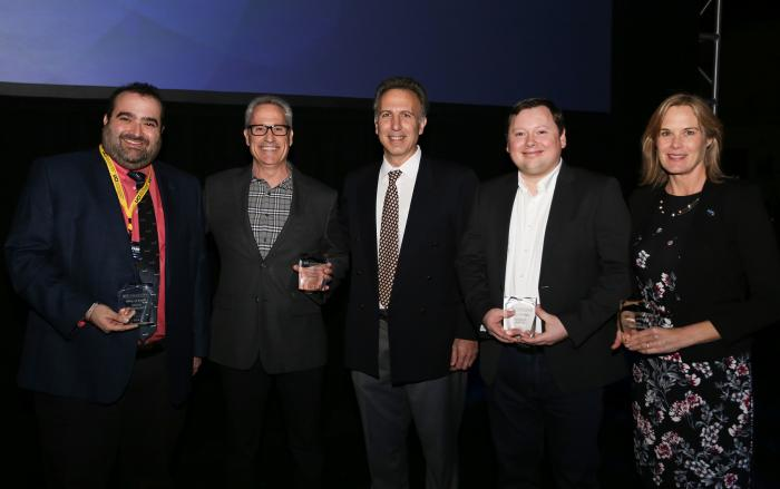 ICS Hall of Fame Inductees (left to right) Justin Erenkrantz, Jim Berney, Gerald Bortis, and Erin Bradner, with ICS Dean Marios Papaefthymiou (center).