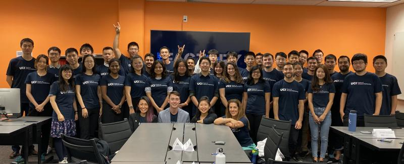 First incoming class of professional Master of Software Engineering students with, in front row, Jaclyn Kung, Career Development Manager; David Lennox, Career Counselor; Connie Cheng, Program Director; and Prof. Cristina Lopes, Faculty Director.