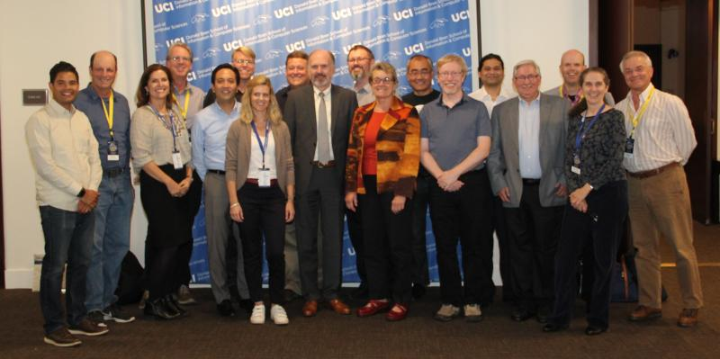 ISR faculty and alums at ICS 50th Anniversary Celebration. Dr. Jose Romero-Mariona, Prof. Hadar Ziv, ISR Programmer/Analyst Kari Nies, Dr. Owen O'Malley, Dr. Arthur Hitomi, Prof. Ray Klefstad, Dr. Kristina Nasr, Dr. Roy Fielding, Prof. Emeritus Richard N. Taylor, Dr. Eric Dashofy, Prof. Emeritus Debra J. Richardson, Dr. Jie Ren, Dr. Jason Robbins, Prof. Sameer Patil, Prof. David Redmiles, Prof. André van der Hoek, ISR Assistant Director Debra Brodbeck, and Research Prof. Emeritus Walt Scacchi.